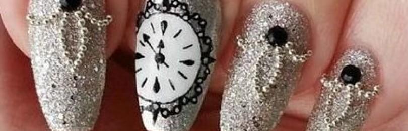 Новогодние белые ногти