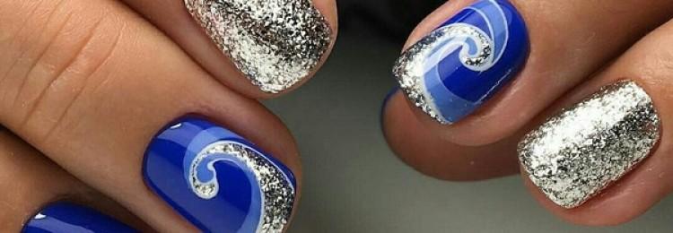 Маникюр синий с серебром: фото, дизайн