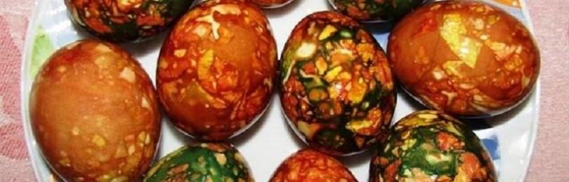 Мраморные яйца на Пасху с зеленкой: как покрасить, фото