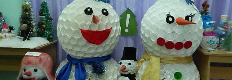 Как сделать снеговика из пластиковых стаканчиков: пошаговые мастер-классы