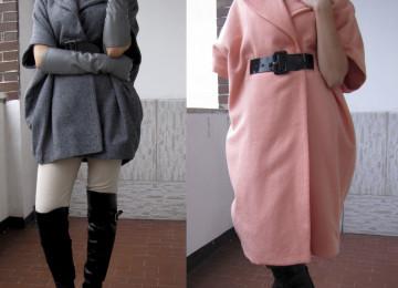 Выкройка пальто оверсайз со спущенным плечом, с цельнокроеным рукавом