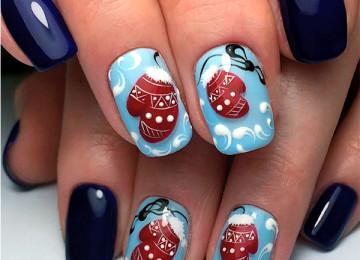 Дизайн ногтей «Варежки»