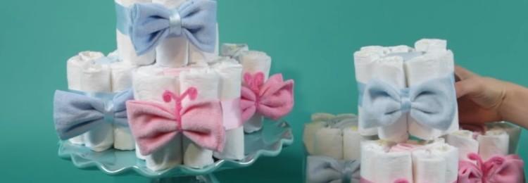 Торт из памперсов для девочки: мастер-классы с фото