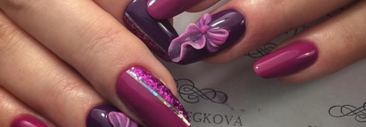Маникюр баклажанового цвета