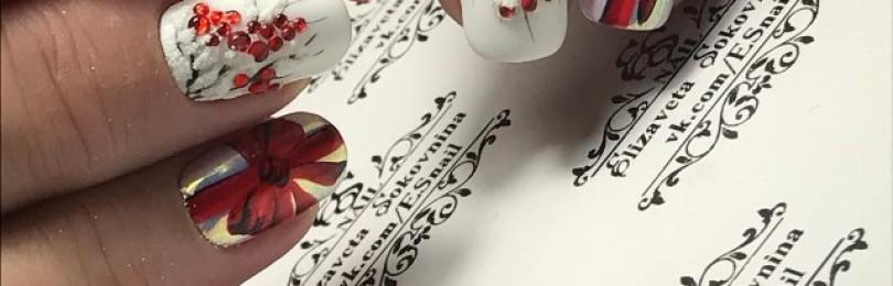 Дизайн ногтей рябина
