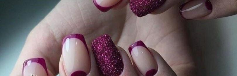 Фиолетовый френч на ногтях