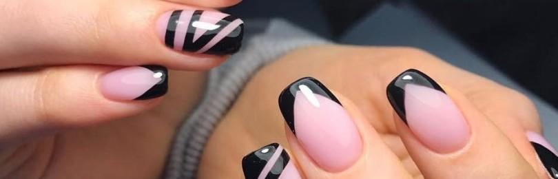Черный френч на ногтях: фото и идеи