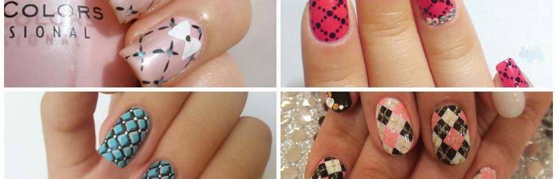 Ромбики на ногтях
