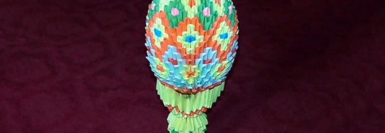 Модульное оригами: схема сборки пасхального яйца и курочки