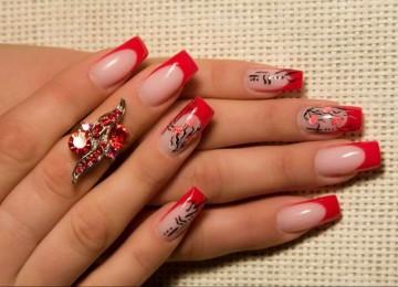 Красный френч на ногтях: фото, идеи дизайна