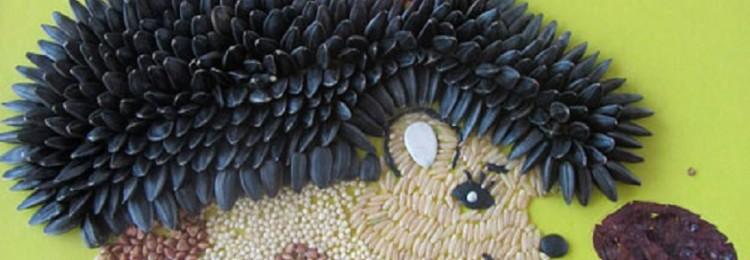 Ежик из семечек: осенние поделки своими руками