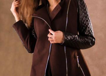 Пальто с кожаными рукавами: меховое, драповое