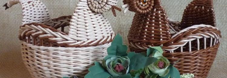 Плетение из газетных трубочек пасхальной корзинки-курочки