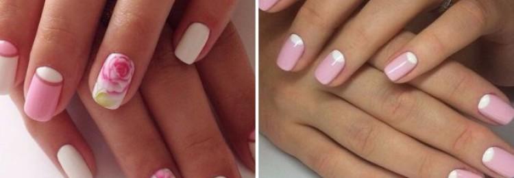 Ногти розовые с белым
