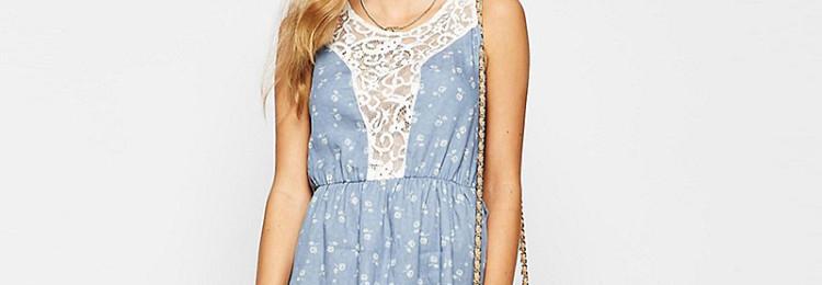 Джинсовое платье с кружевом: фото, как носить