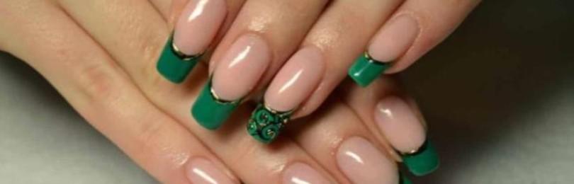 Зеленый френч на ногтях