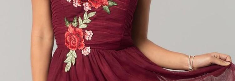 Бордовое платье на выпускной: в пол, короткое, фото