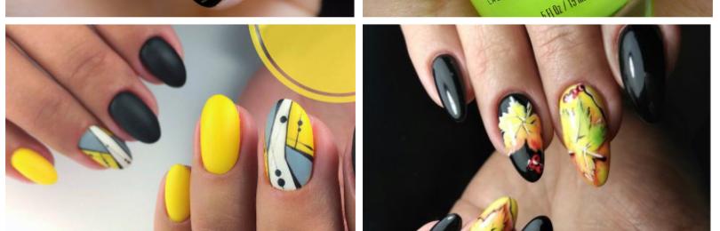 Черно-желтый маникюр: фото