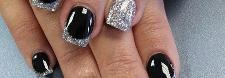 Дизайн ногтей черный с серебром