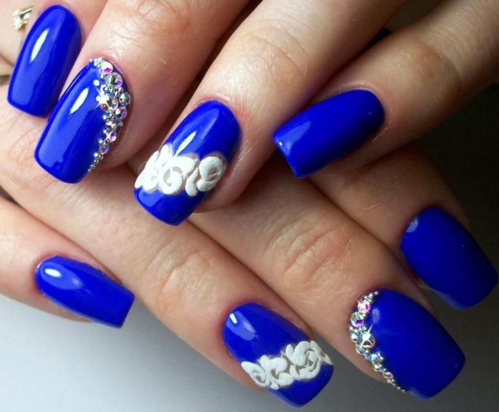 Наращивание ногтей в синем цвете фото дизайн