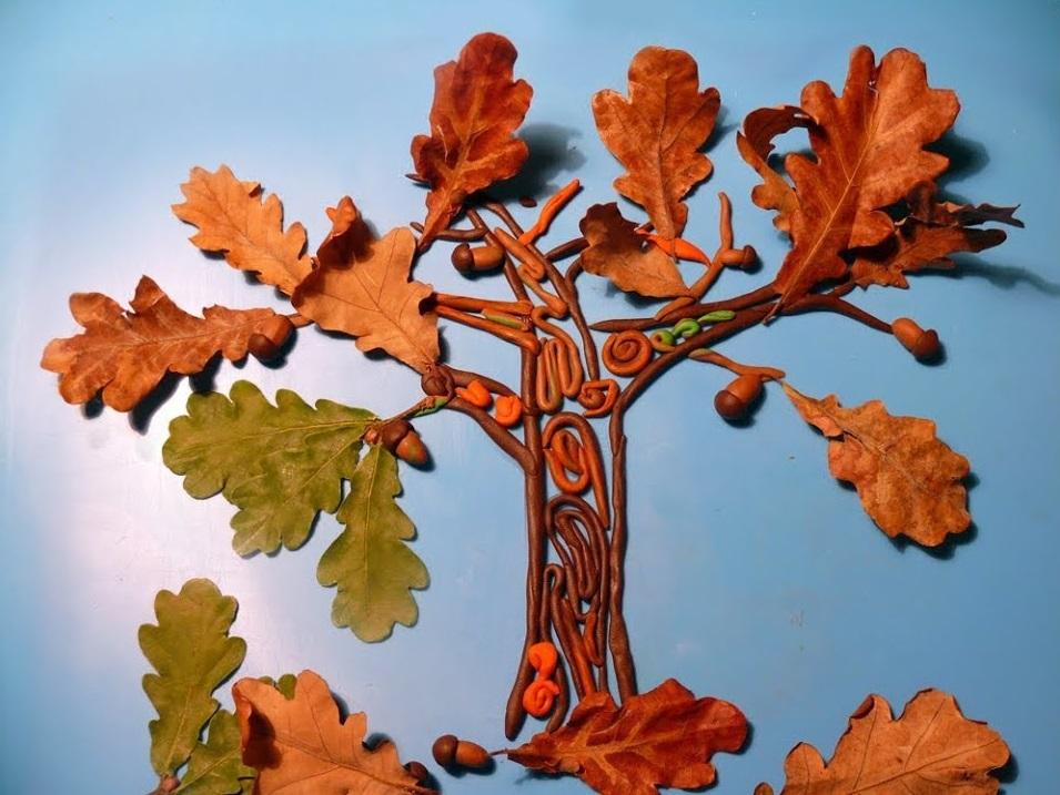 Осенние картинки из пластилина для детей