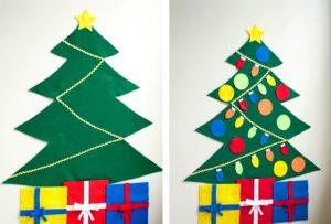 Делаем новогодние елки из фетра своими руками